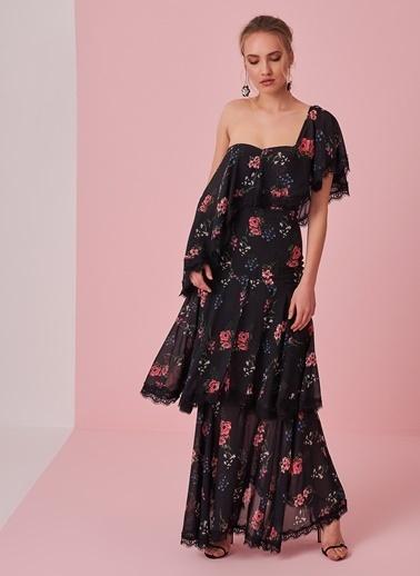 Dantel Detaylı Çiçek Desenli Elbise-morhipo x dcey